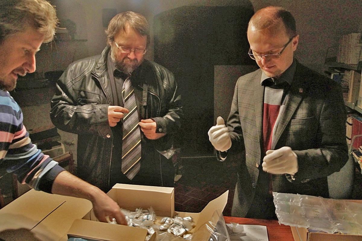 Meeting concerning the coin discovery at East Bohemian Museum in Pardubice: Museum Director Tomáš Libánek, Curator of the Numismatic Collection Petr Vorel (CAC member), Governor of the Pardubice Region Martin Netolický